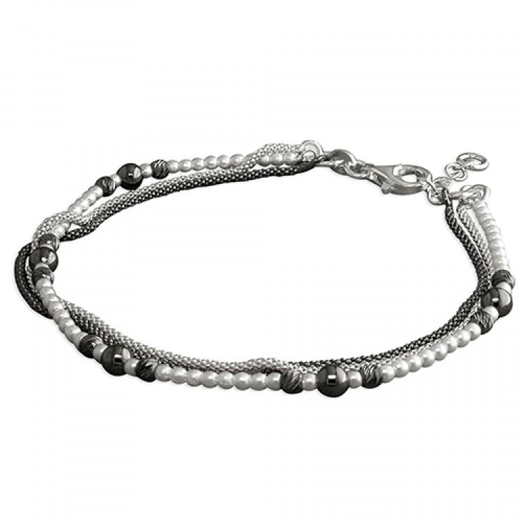 19cm black/Swarowski pearl/white 3-strand