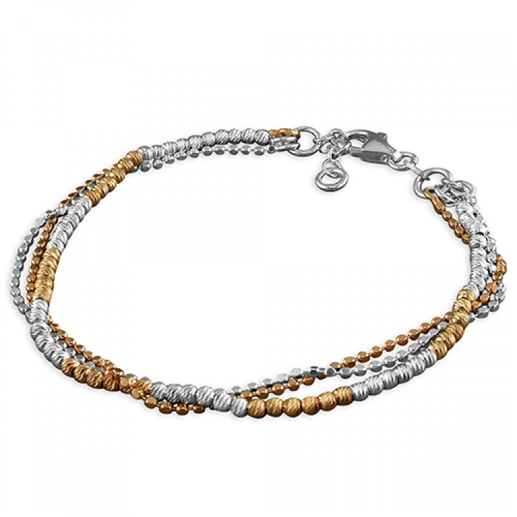 19cm rose gold-plated and silver diamond-cut 3-strand