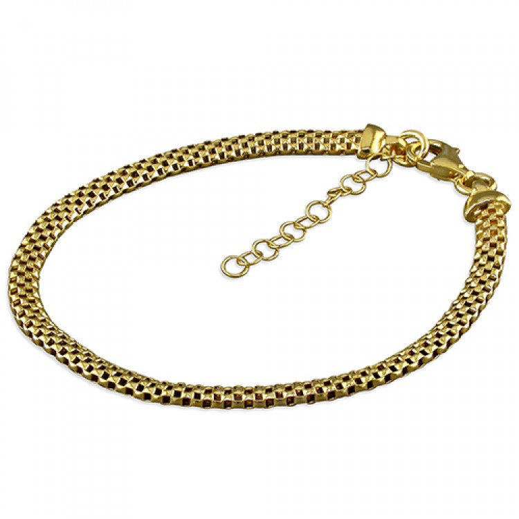 19cm large yellow gold-plated oval mesh
