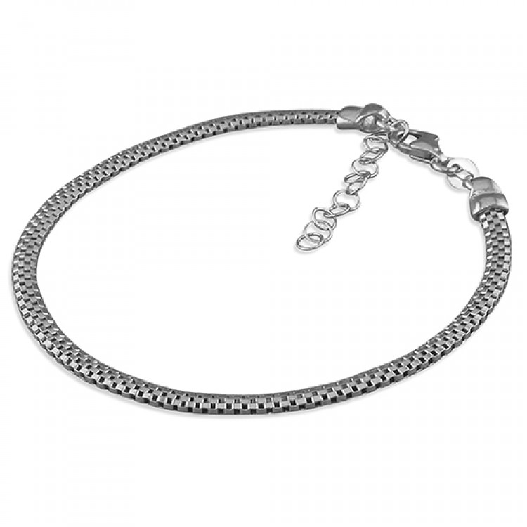 19cm small rhodium-plated oval mesh