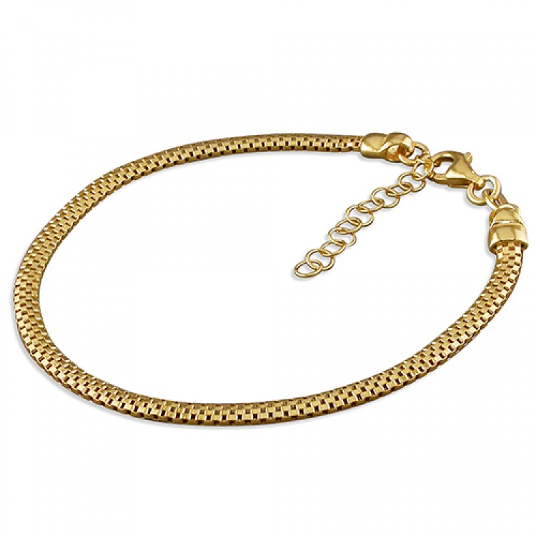 19cm small yellow gold-plated oval mesh