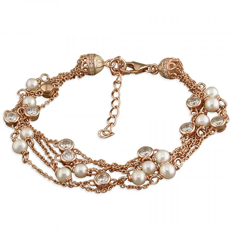 16-20cm rose gold-plated freshwater pearls and cubic zirconia dots