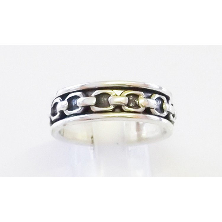 Mens heavy rope silver spin ring 6mm