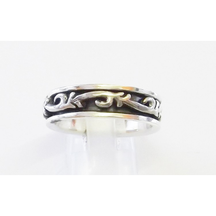 Ethnic mens silver heavy spin ring 8mm