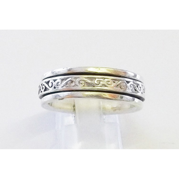 Mens bali style mid heavy spin ring 6mm