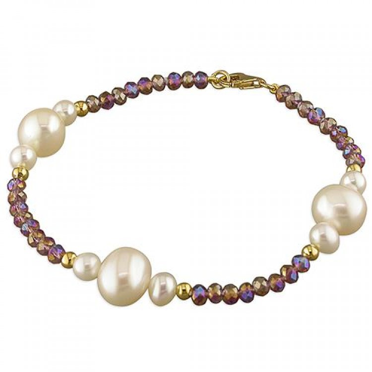 18cm/7in purple crystal/white freshwater pearl/yellow gold-plated
