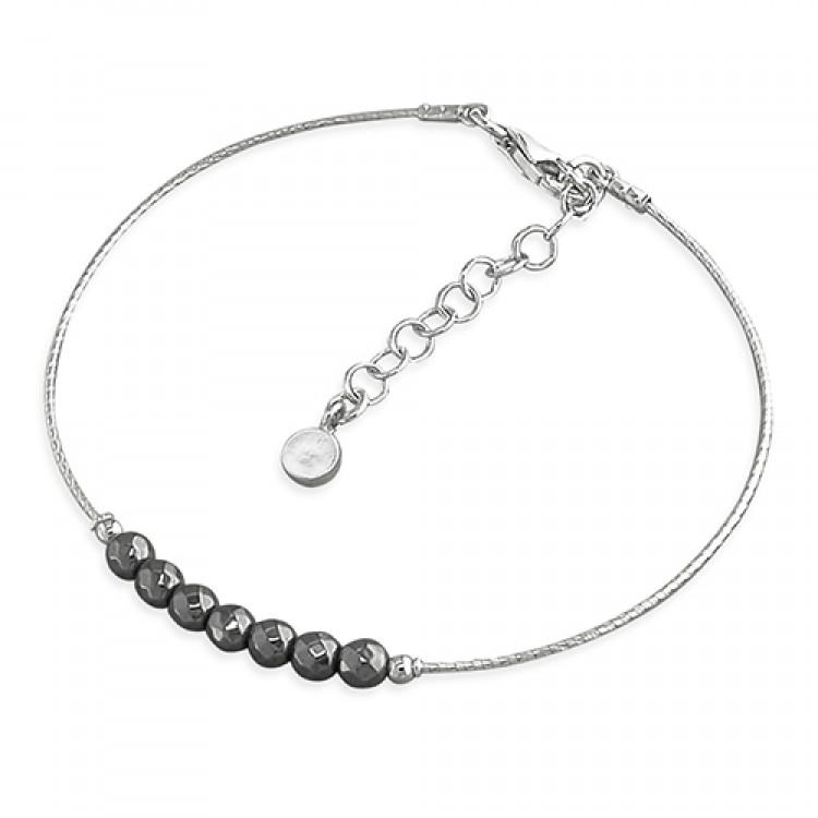 19-22cm black beads on rhodium cable