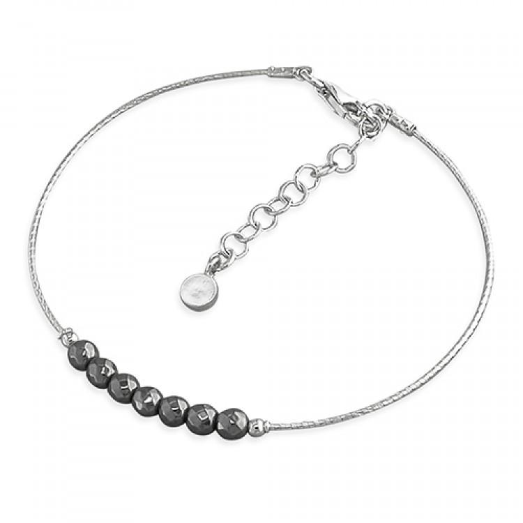 19-22cm black beads on rhodium cable