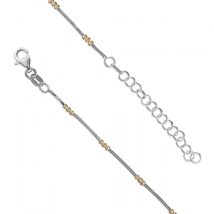 18-21cm snake chain with rose gold-plated beads