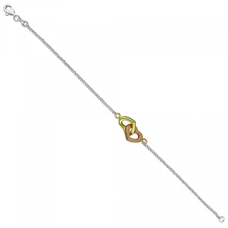 19cm/7.5in rose- and yellow-gold plated linked hearts