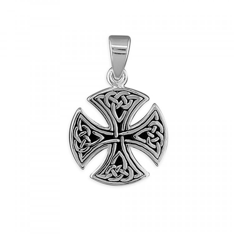 Mens small round Celtic cross