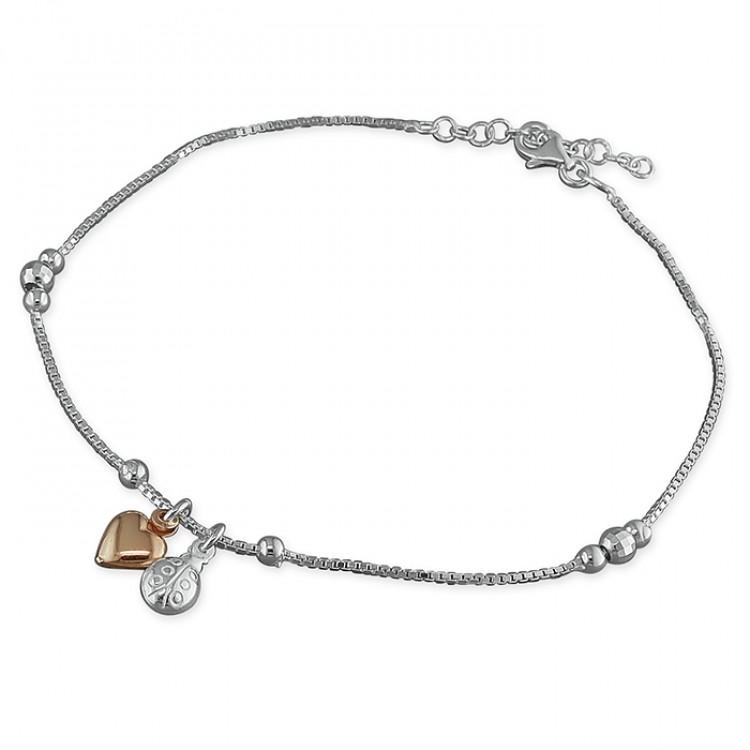 25cm rose gold-plated heart and silver ladybird charms