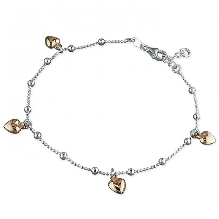 25cm five rose gold-plated hearts on chain