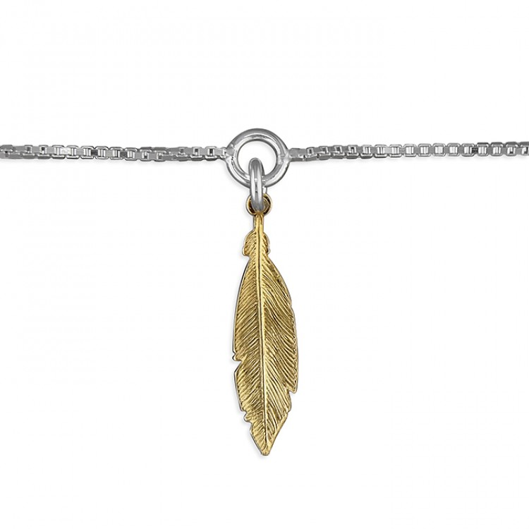 25cm small gold-plated feather on chain