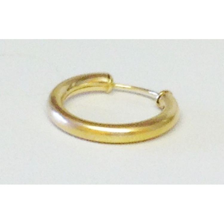 Mens single thick tube capped gold sleeper 15mm