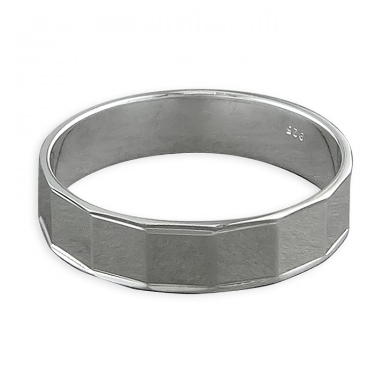 Mens mirror facets band
