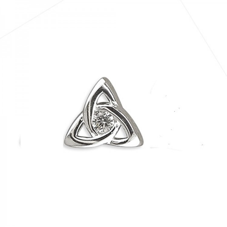Mens cubic zirconia celtic knot stud