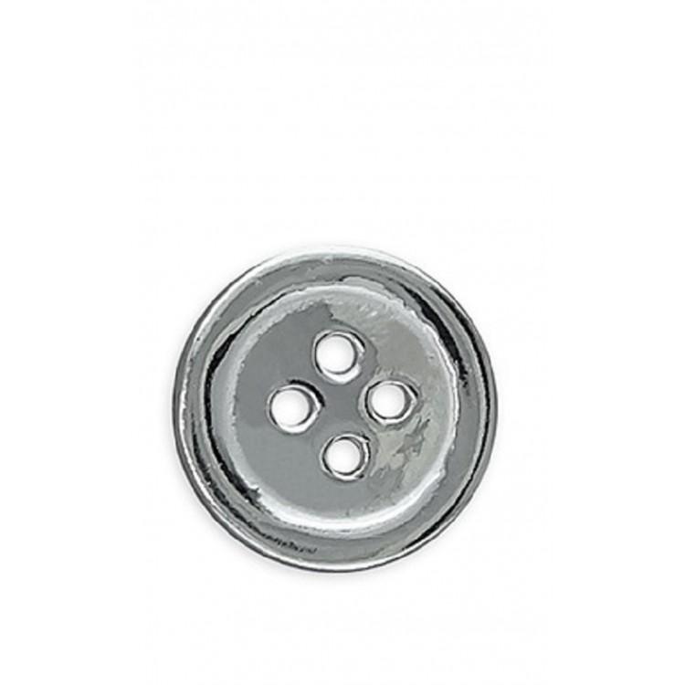 Mens flat button silver stud 10mm