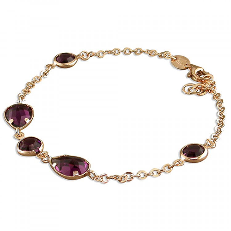 19cm rose gold-plated purple Swarowski crystals