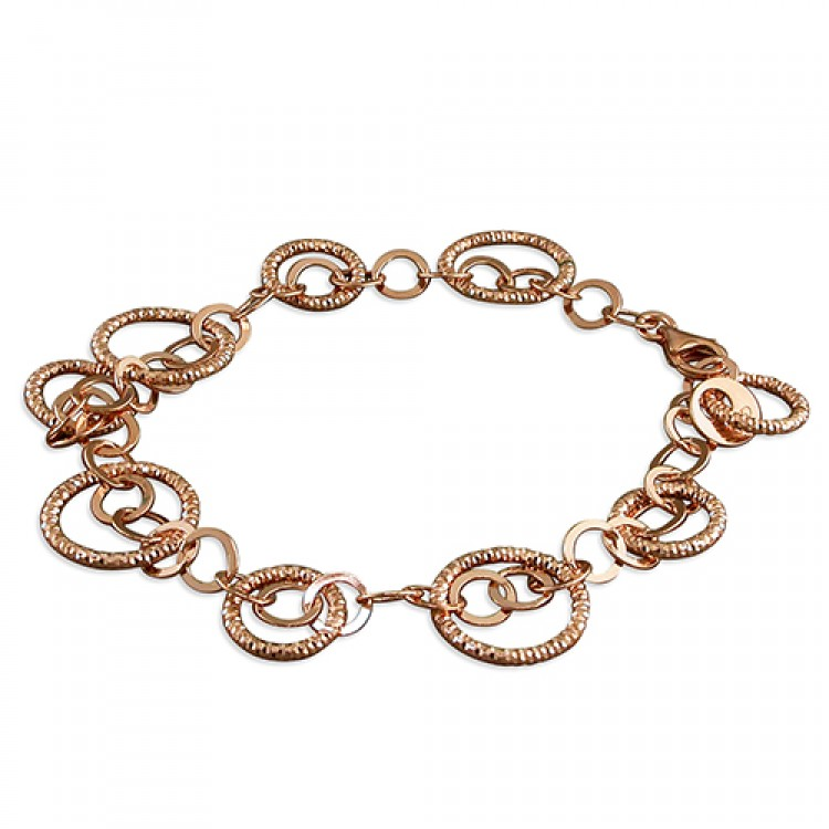 19cm rose gold-plated small and large diamond-cut circles