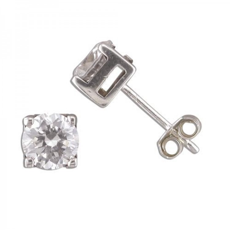 8mm mens cast cubic zirconia silver single stud