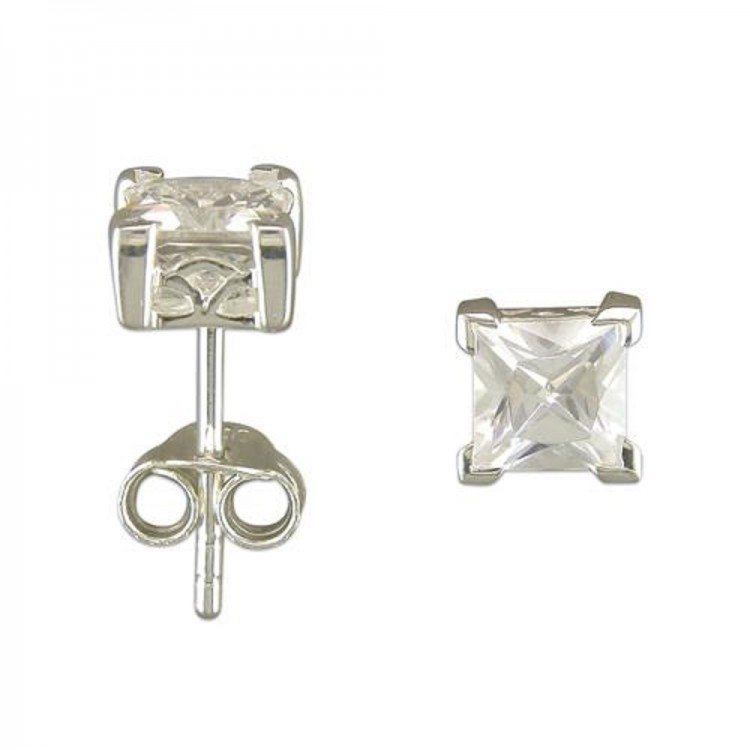 8mm mens cast cubic zirconia square single stud