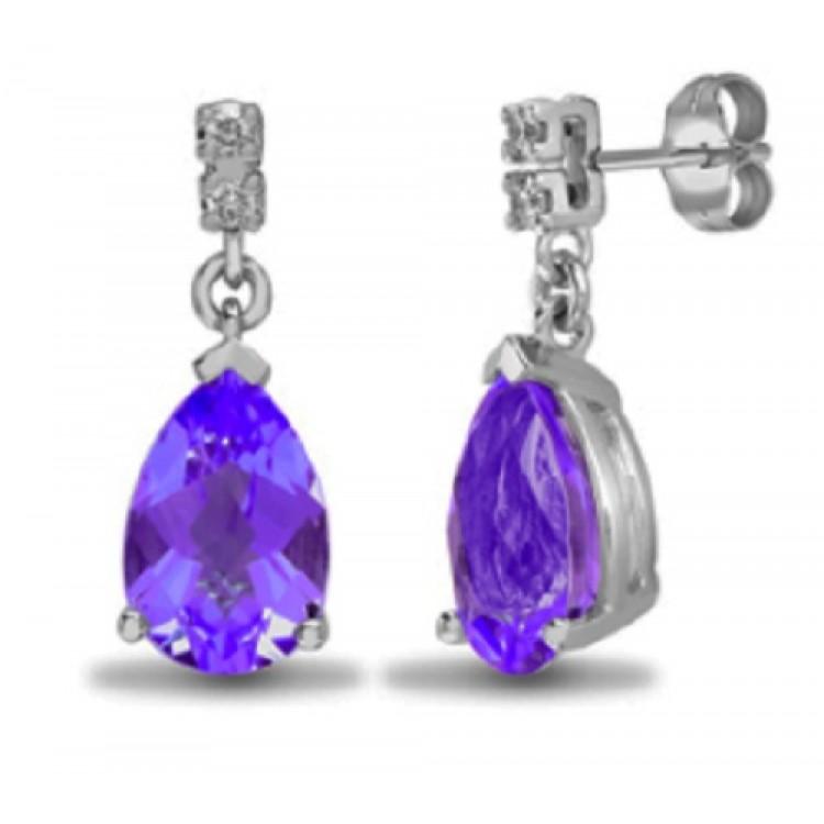 Diamond with amethist teardrop stud earrings