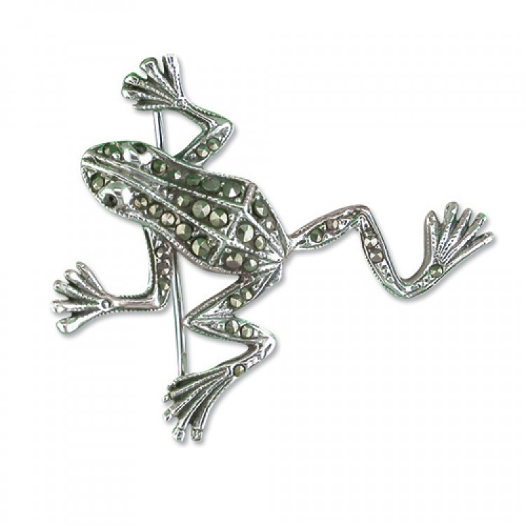 Mercasite frog with garnet eyes