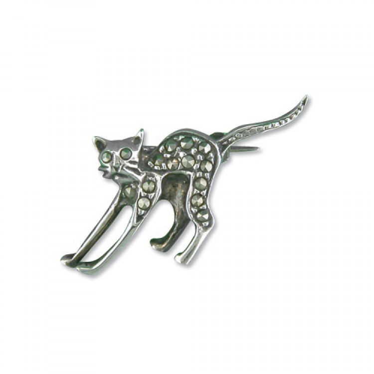 Mercasite cat with ruby eyes
