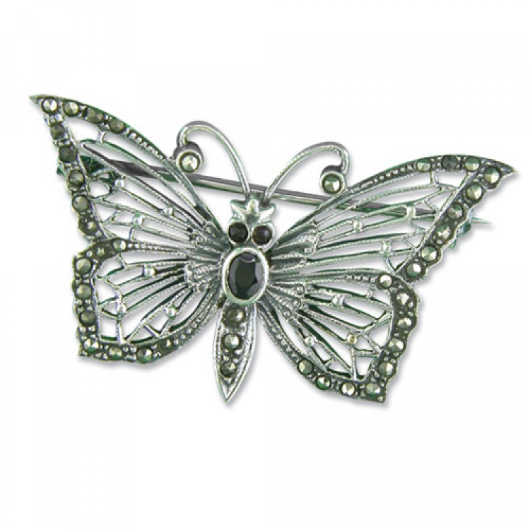 Mercasite butterfly with garnet body