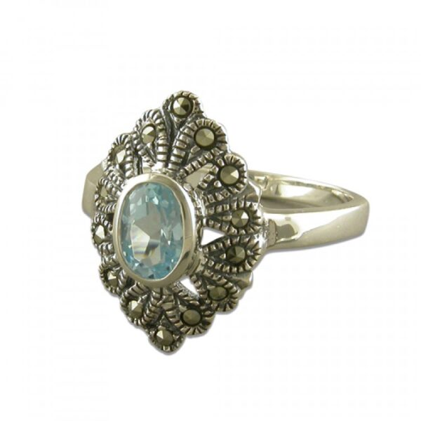 Blue topaz and mercasite pointed