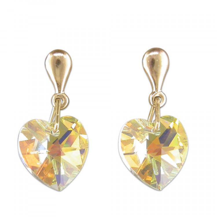 Austrian crystal domed heart drop