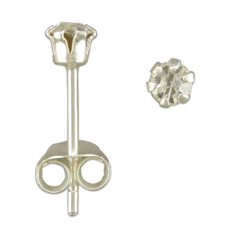 3mm austrian crystal stud clear