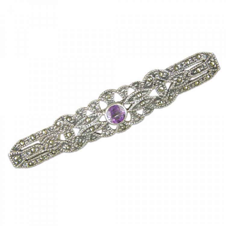 Amethist mercasite fancy bar