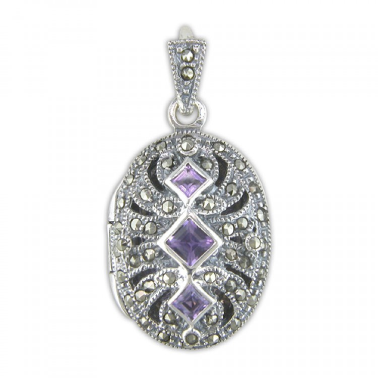 Amethist mercasite fancy oval