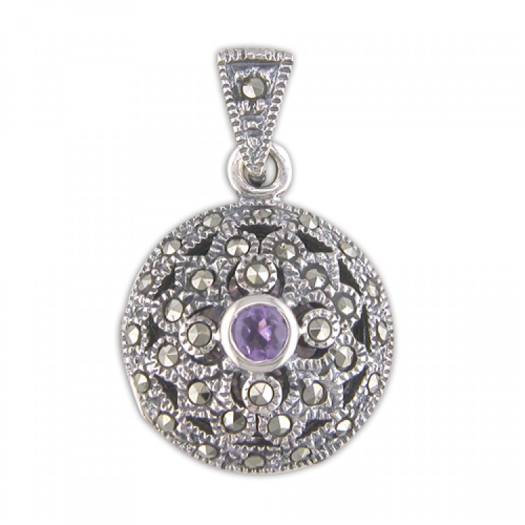 Amethist mercasite fancy round
