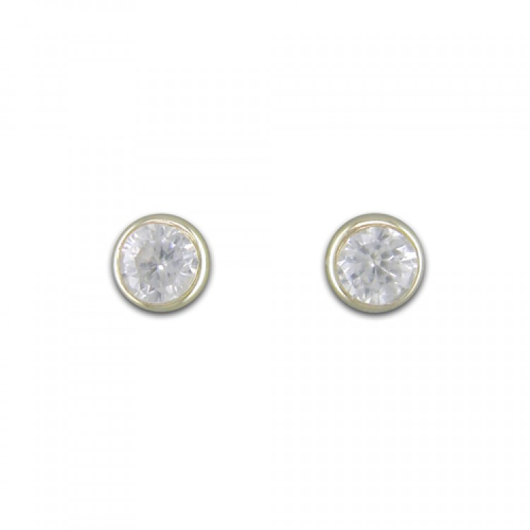 3mm round rubover cubic zirconia stud