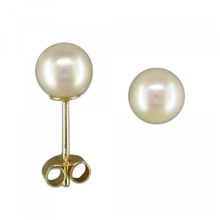 6mm cultured pearl stud
