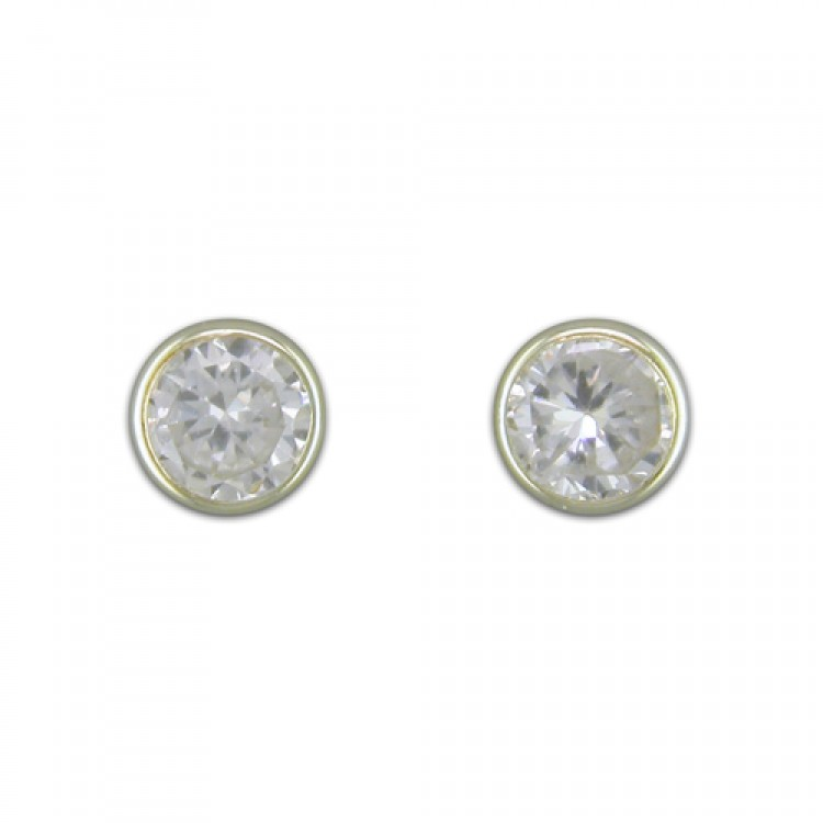 4mm round rubover cubic zirconia stud