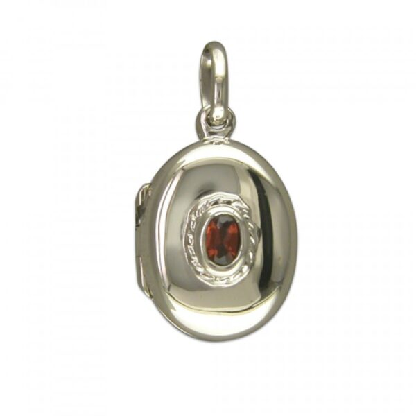 Small plain oval with garnet
