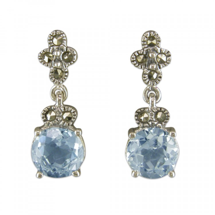 Blue topaz and mercasite drop