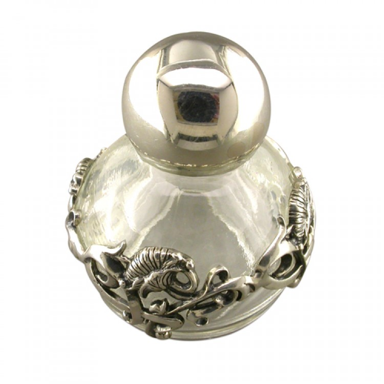 Glass silver perfume bottle