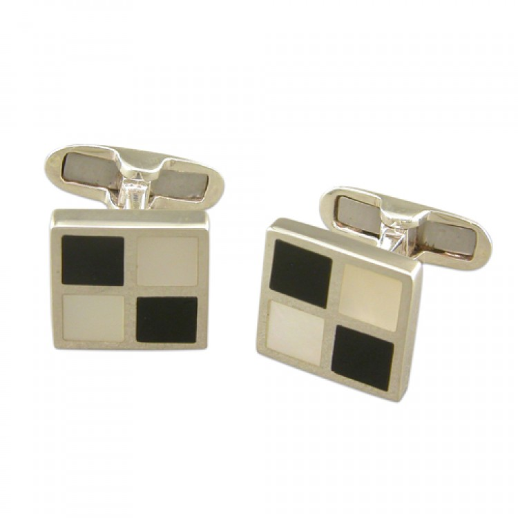 Onyx mother of pearl chequer board cufflinks