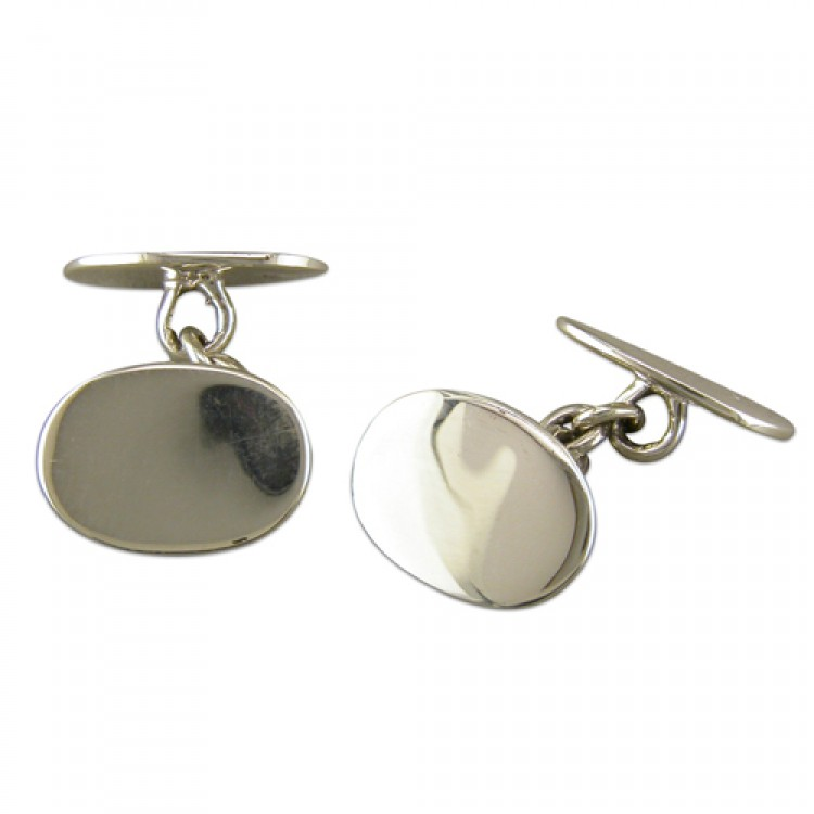 Double plain oval cufflinks