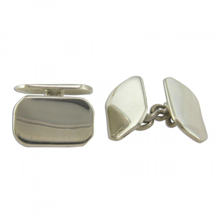 Double plain oblong cufflinks