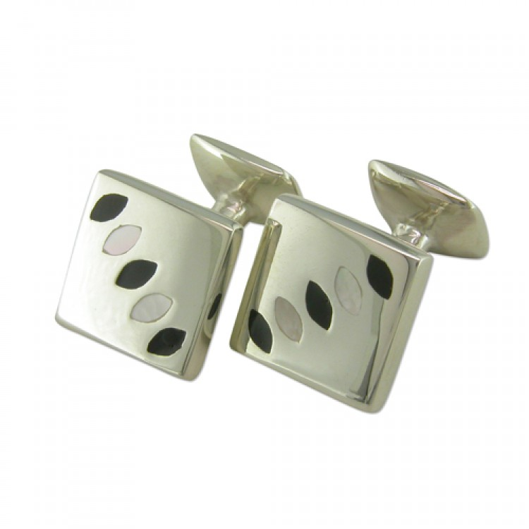 Square resin mother of pearl cufflinks