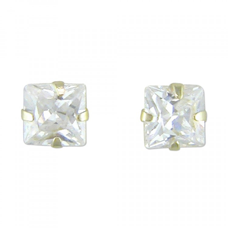 3mm square cubic zirconia stud