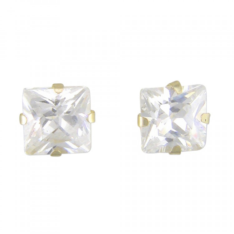 4mm square cubic zirconia stud
