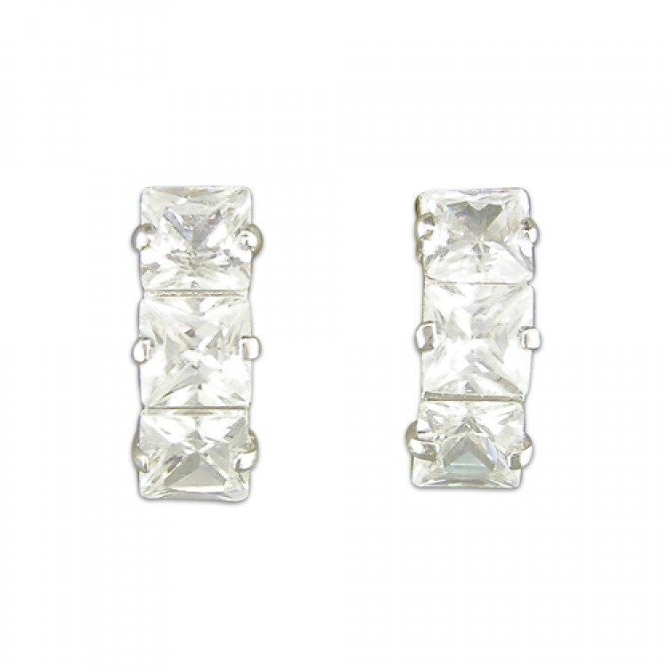 Cubic zirconia curve stud white gold