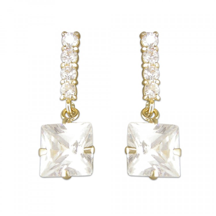 Cubic zirconia square and stick drop